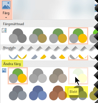 På fliken Format i Bildverktyg på menyfliksområdet väljer du Färg. Under Ändra färg väljer du Blekt.