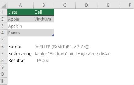 Ett exempel som använder eller visar exakta funktioner för att jämföra ett värde med en lista med värden