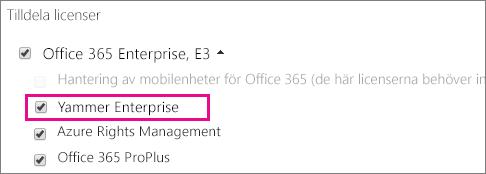 Skärmbild av avsnittet Tilldela licenser i administrationscentret för Office 365 med Yammer Enterprise-licens tillgänglig att tilldela.