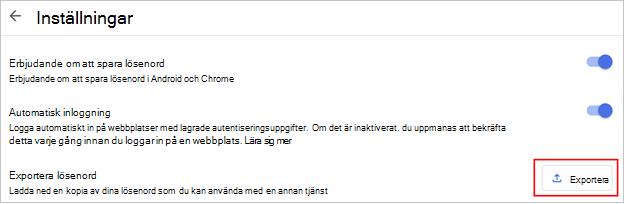 Webbläsaren Chrome exporterar lösenord, kommandoplats