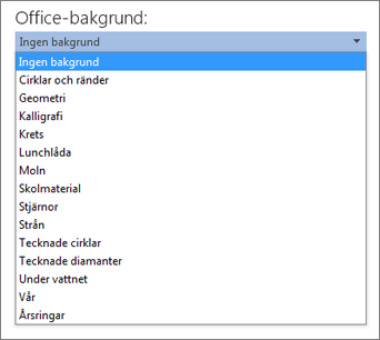 Listan Office-bakgrunder i Office 2013-program