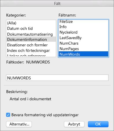 Dialogrutan Fält med Dokumentinformation och NumWords markerade.