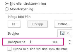 Reglaget för genomskinlighet i fönstret Formatera bild