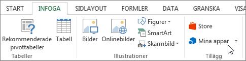 Skärmbild av en del av fliken Infoga i menyfliksområdet i Excel med en markör som pekar på Mina program. Markera Mina program till access-program för Excel.