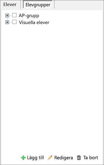 Fönstret Distribuera sidor med markerade elevgrupper. Verktyg för att lägga till, redigera och ta bort elevgrupper.
