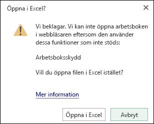 Dialog ruta när du öppnar en lösenordsskyddad arbets bok i Excel för webben