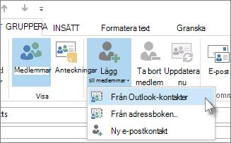 Lägg till medlemmar från Outlook-kontakter
