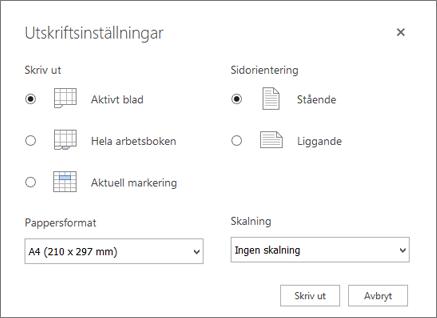 Inställningar för utskriftsalternativ när du klickat på Arkiv > Skriv ut