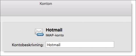 En beskrivning för och en typ av Outlook-konto visas.