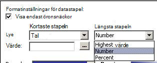 formatera inställningar för datafält