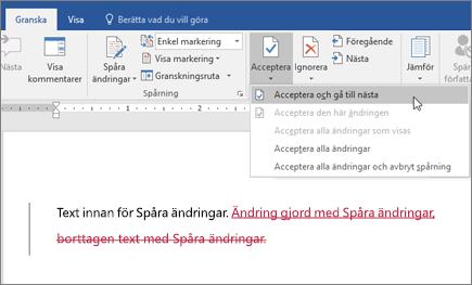 Spåra ändringar i Word i Office 365