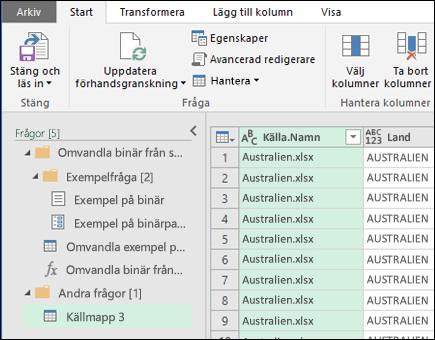 Dialogrutan Kombinera binärvärden. Tryck på Stäng och läs in för att acceptera resultatet och importera det till Excel.