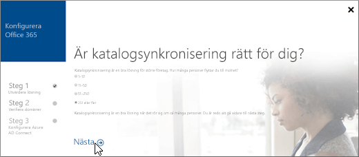 Välj Nästa för att fortsätta konfigurera katalogsynkronisering