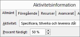 Skärmbild av dialogrutan Uppgiftsinformation som visar antal procent färdigt
