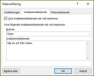 Indatameddelandealternativ för dataverifiering