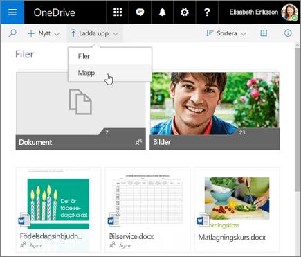 OneDrive-mappen för uppladdade filer