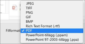 PowerPoint 2016 för Mac, exportera PDF