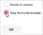 Microsoft Forms-webbdelsurval för att visa formulärresultat.