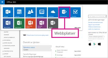 Välj webbplatser i Office 365