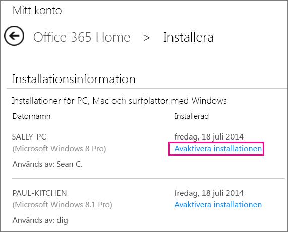 Sidan Installera med länken Inaktivera installation markerad.