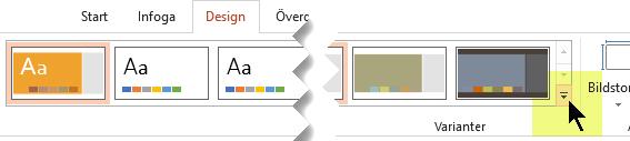 Klicka på nedåtpilen som öppnar galleriet med färgvarianter