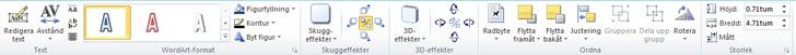 Fliken WordArt-verktyg i Publisher 2010