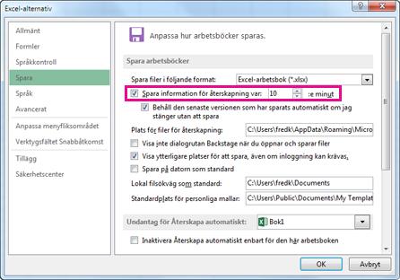 Alternativet Automatisk återställning på fliken Spara i dialogrutan Excel-alternativ