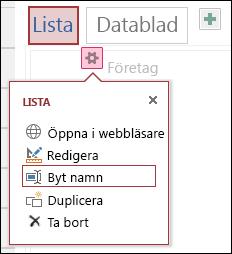 Inställningsmenyn med öppna i webbläsare, redigera, Byt namn, kopiera och ta bort