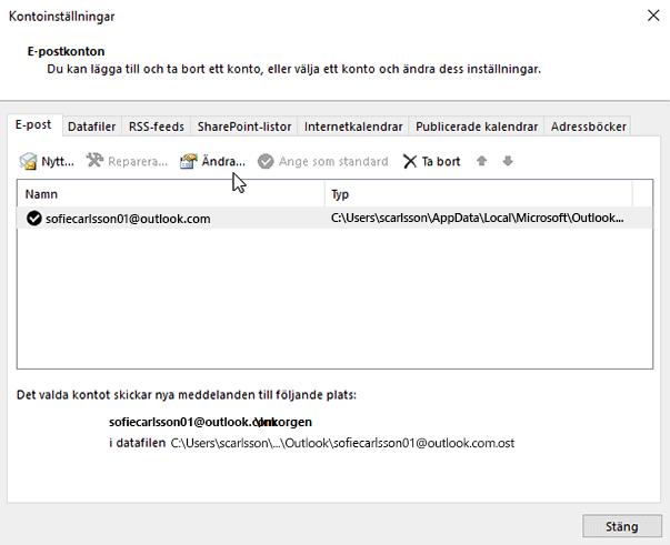 Ändra inställningar för e-postkonto
