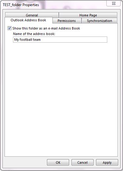 """Kontrollera att kryssrutan för """"Visa den här mappen som en e-postadressbok"""" är markerad."""
