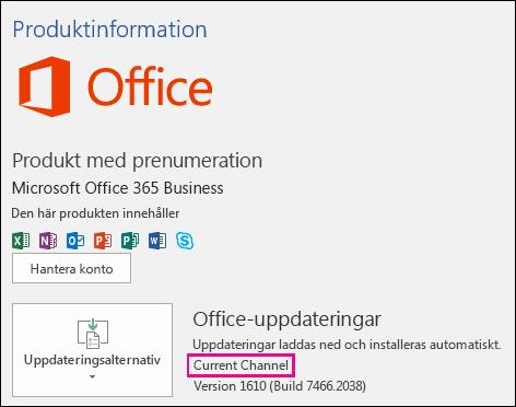 Produktkontoinformation för Office 365 Business-abonnemang av typen Aktuell kanal