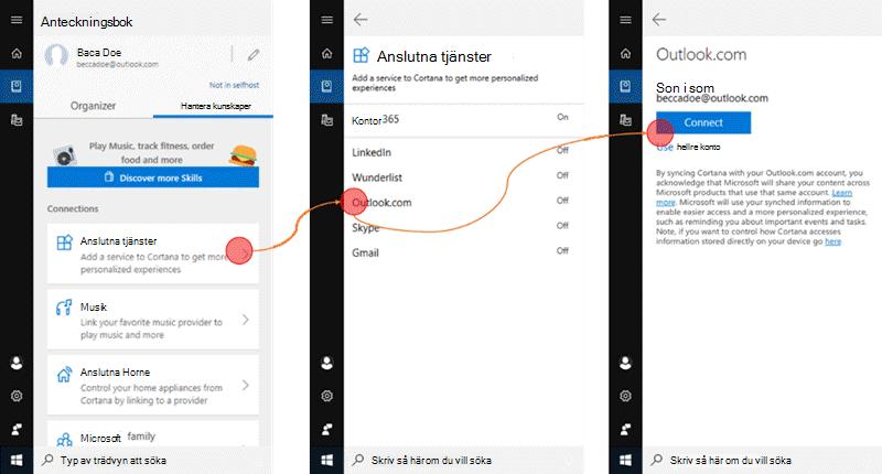 Skärm bild med Cortana öppet på Windows 10 och menyn anslutna tjänster är öppen.