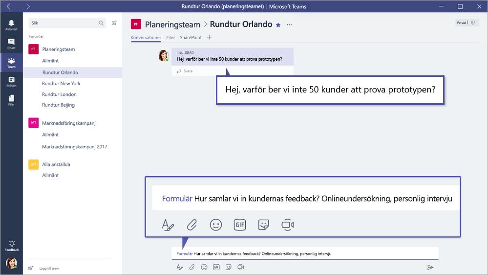 Microsoft Forms QuickPoll i Microsoft team