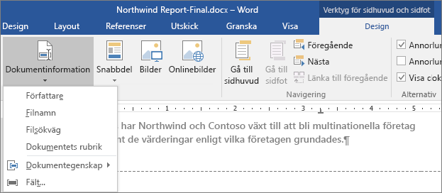 Alternativen för Dokumentinformation visas på fliken Verktyg för sidhuvud och sidfot.