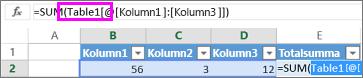Tabellnamnet visas i formler