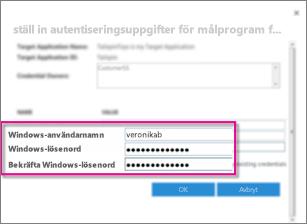 Skärmdump som visar dialogrutan Fält för autentiseringsuppgifter som du använder när du skapar ett Målprogram för säker lagring. I skärmdumpen finns standardvärdena, Windows-användarnamnet och Windows-lösenordet.