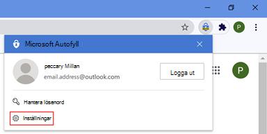 Plats för autofylltillägg för webbläsaren Chrome
