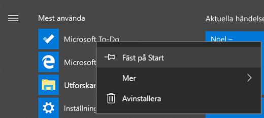 Skärmbild där alternativet Fäst på Start är valt för Microsoft To-Do i Start-menyn