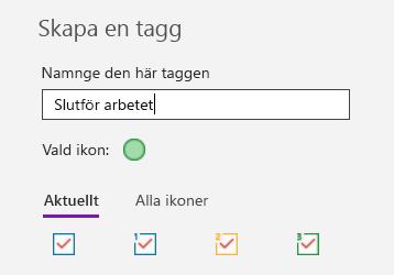 Skapa anpassade taggar i OneNote för Windows 10