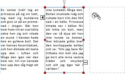 Skärmbild av en textruta med spilltext redo att flöda till en annan textruta.