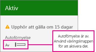 Skärmbild av prenumeration som visar växlingsknappen för automatisk förnyelse