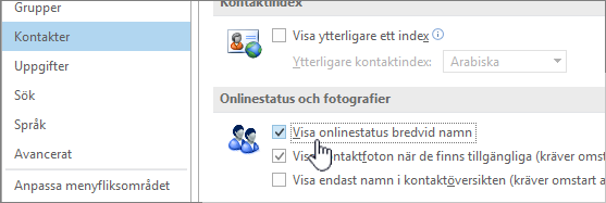 Fliken Kontakter i dialogrutan Alternativ med Visa onlinestatus markerat