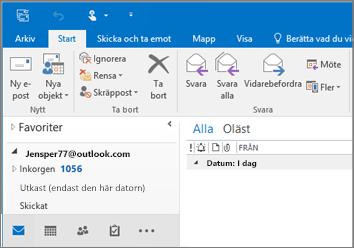 En bild av hur det ser ut om du har ett Outlook.com-konto i Outlook 2016.