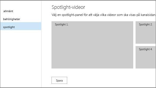 Sida för videokanalsinställningar – spotlight