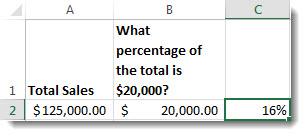 125 000 $ i cell a2, 20 000 $ i cell b2 och 16 % i cell c2