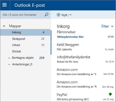 Huvudskärmen för Outlook.com eller Hotmail.com