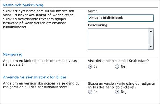Dialogrutan för att lägga till namn, diagram, snabbstart och versionshantering.