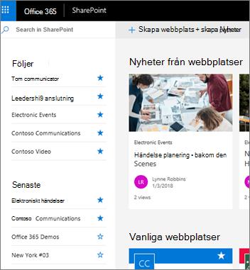 Start sida för SharePoint Online
