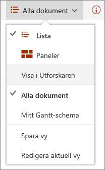 SharePoint Online-vyer i Internet Explorer 11