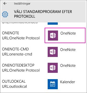 Skärmbild av OneNote-protokollen i Inställningar i Windows 10.